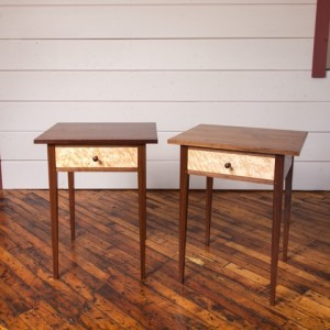 Walnut-Birdseye table pair